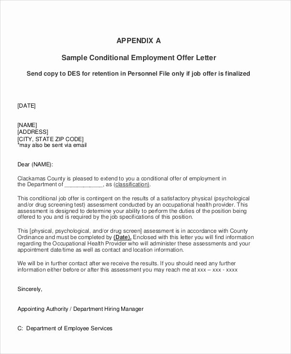 Job Offer Letter Sample Doc Fresh Sample Job Appointment Letter 7 Examples In Word Pdf