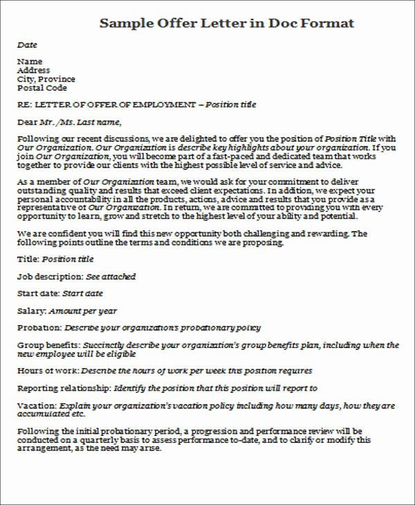Job Offer Letter Sample Doc New 45 Fer Letter format Templates Pdf Doc