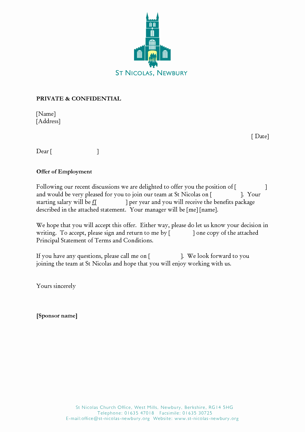 Job Offer Letter Sample Doc Unique Job Fer Template