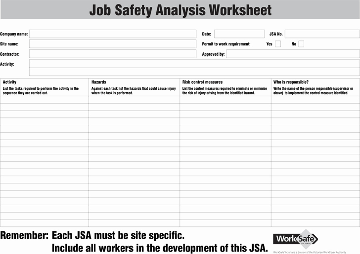 Job Safety Analysis Template Excel Fresh Job Safety Analysis Template Template Free Download