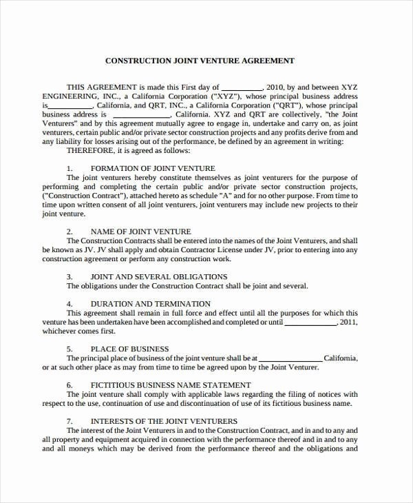 Joint Venture Agreement Pdf Inspirational Sample Joint Venture Agreement forms 8 Free Documents In Word Pdf