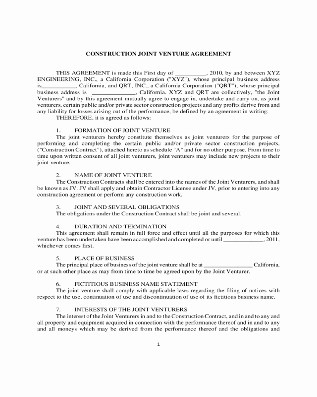 Joint Venture Agreement Pdf Luxury 2019 Joint Venture Agreement Template Fillable Printable Pdf & forms