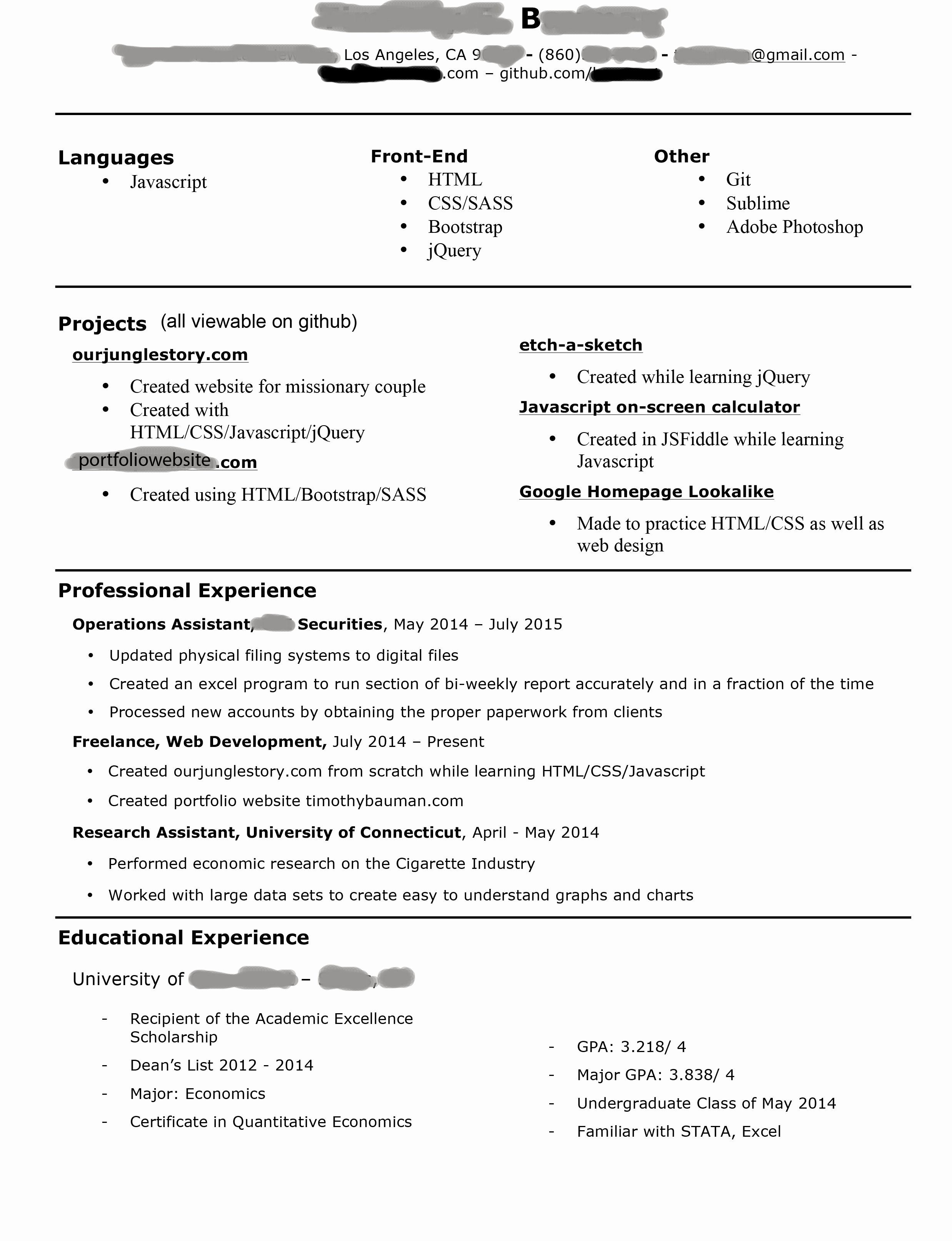 Junior Web Developer Resume Awesome Starting to Look for Jobs as A Jr Front End Web Developer How S My Resume Look Resumes