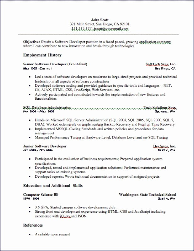 Junior Web Developer Resume Best Of 9 Junior Sql Developer Resume