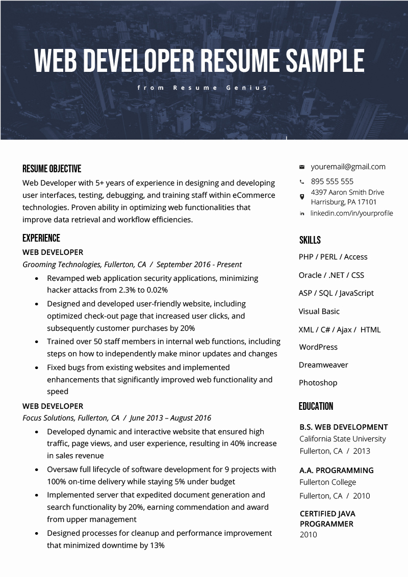 Junior Web Developer Resume New Web Developer Resume Sample & Writing Tips