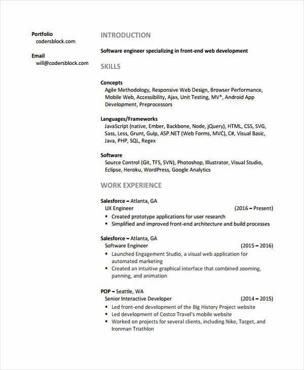 Junior Web Developer Resume New Web Developer Resumes 9 Free Word Pdf format Download