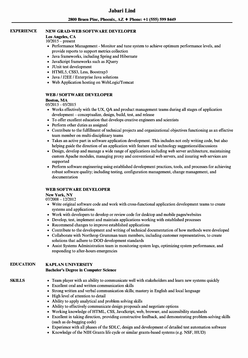 Junior Web Developer Resume New Web software Developer Resume Samples