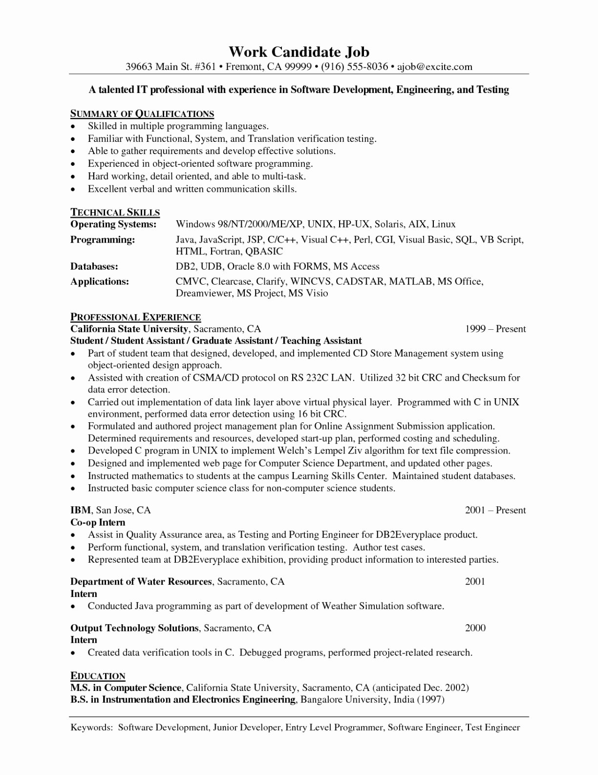 Junior Web Developer Resume Unique Junior software Developer Resume