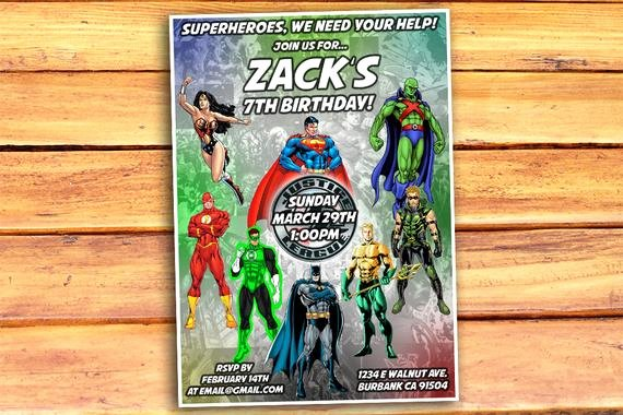 Justice League Birthday Invitations Awesome Justice League Birthday Invitation Justice by Monsterdigitals