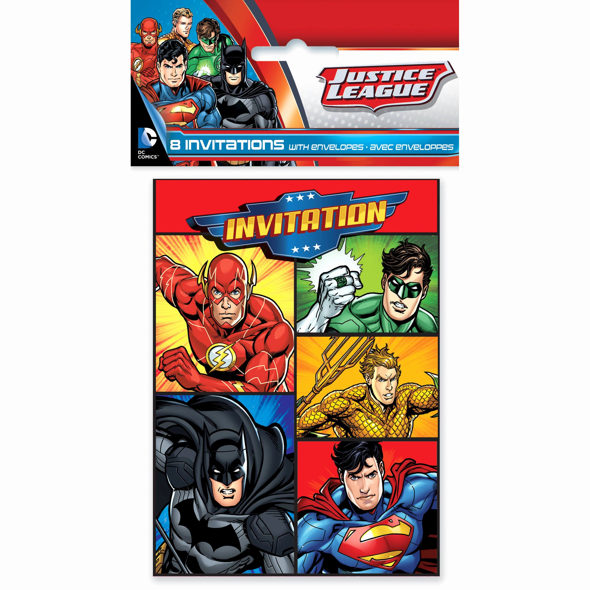 Justice League Birthday Invitations Awesome Justice League Invitations 8ct Walmart