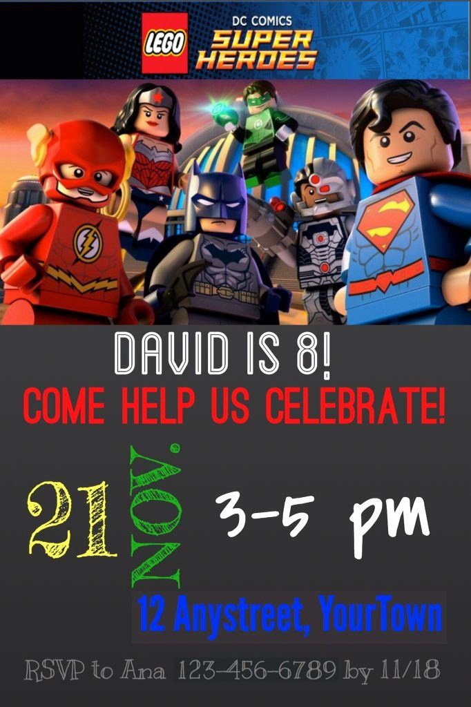 Justice League Birthday Invitations Awesome Lego Dc Justice League Birthday Invitation Sample Lego Justice League Party Pinterest