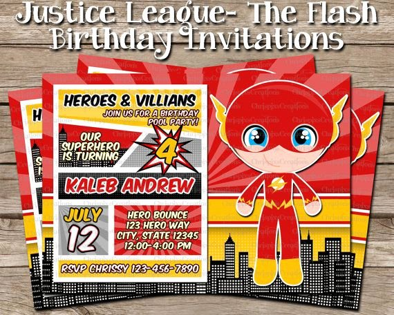 Justice League Birthday Invitations Awesome the Flash Birthday Invitation Justice League by Chrispixscreations Party Ideas