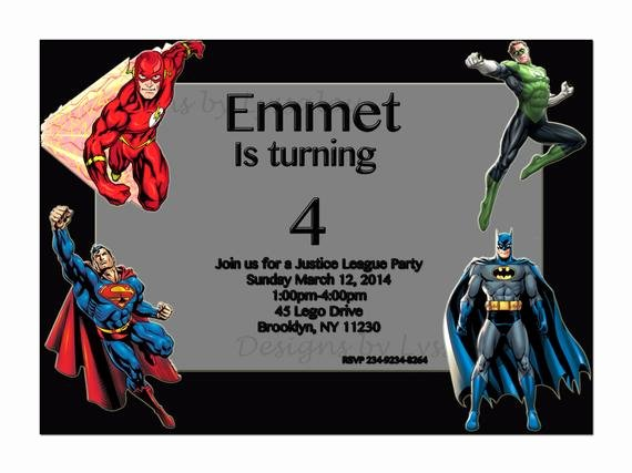 Justice League Birthday Invitations Beautiful Superheroes Invitation Justice League by Designsbylyssalou