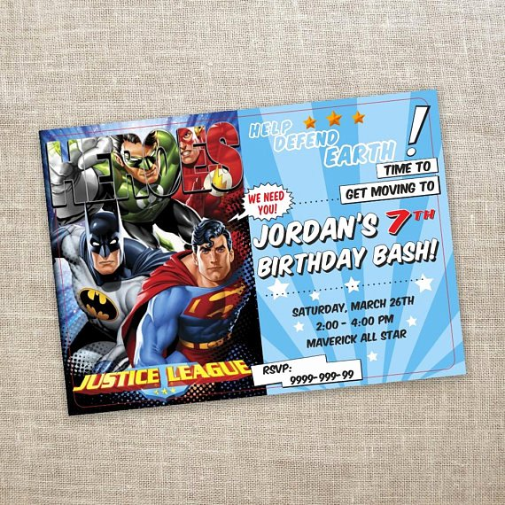 Justice League Birthday Invitations Fresh Justice League Birthday Invitation Superhero Birthday Party