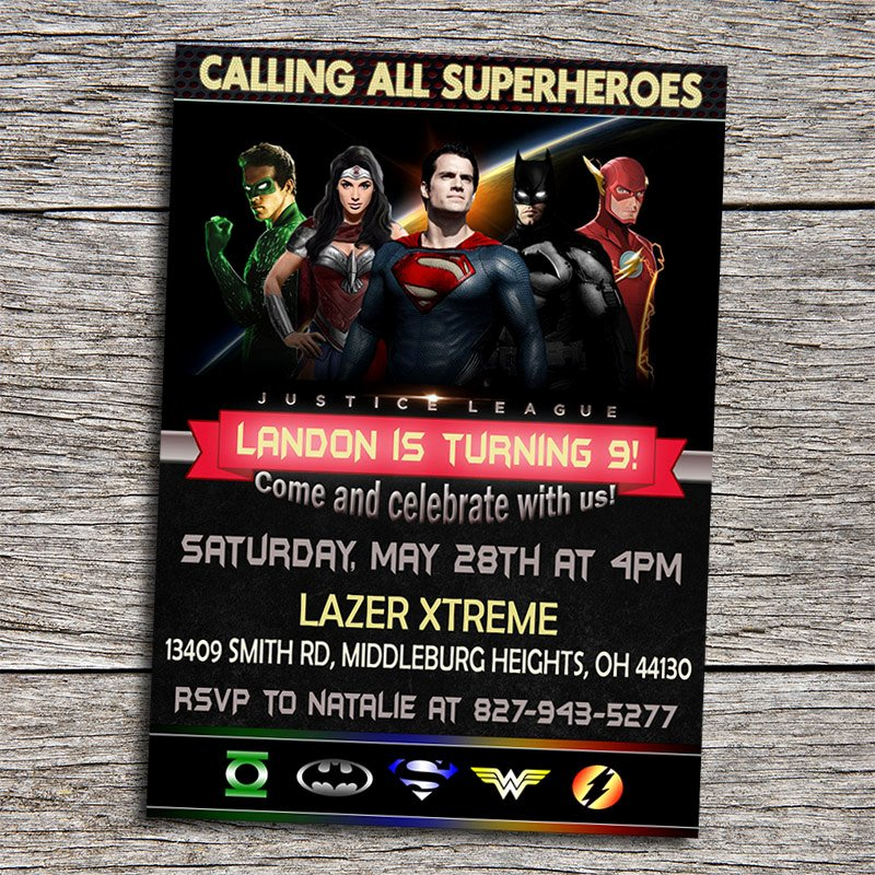 Justice League Birthday Invitations Fresh Justice League Birthday Party Invitation by Dottydigitalparty