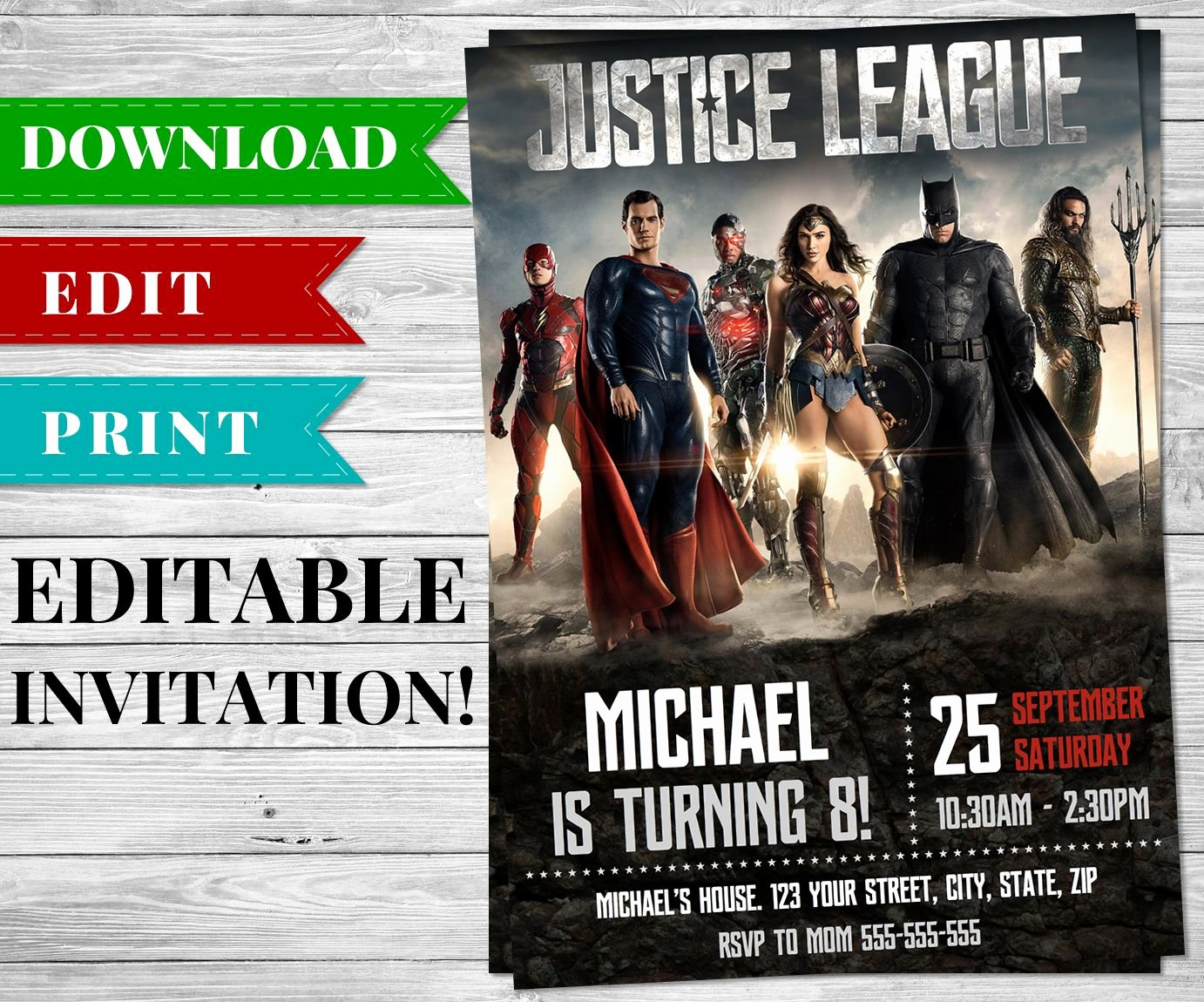 Justice League Birthday Invitations Fresh Printable Editable Justice League Invitation In 2019 Bday