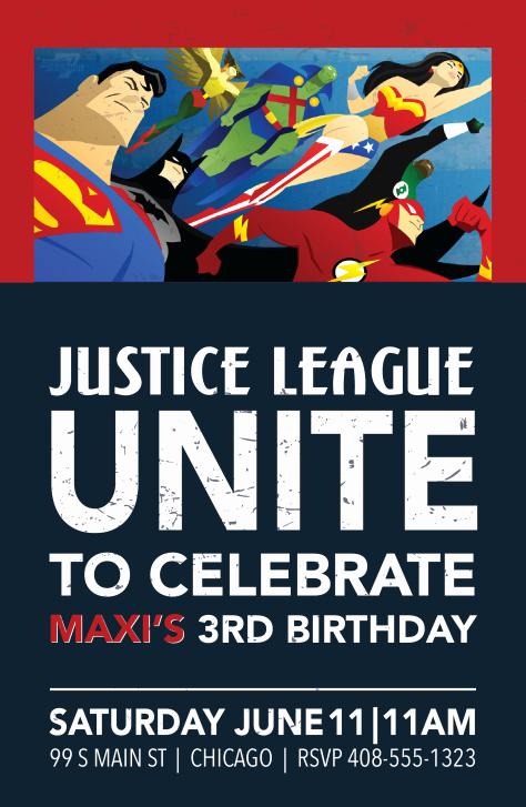 Justice League Birthday Invitations Inspirational Justice League Birthday Invitation
