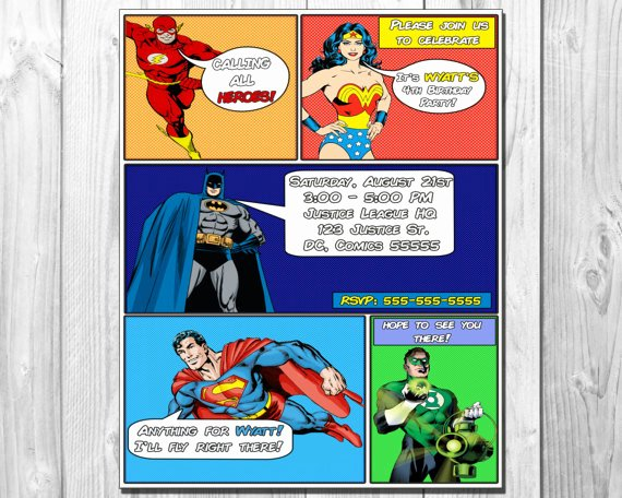 Justice League Birthday Invitations Unique Dc Justice League Ic Book Birthday Party Invitation