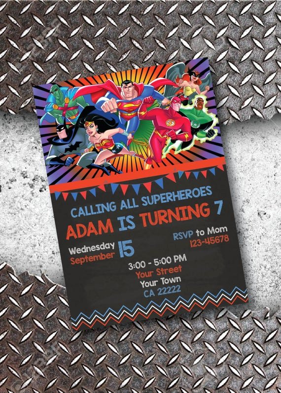 Justice League Birthday Invitations Unique Justice League Birthday Invitation Chalkboard Invitation