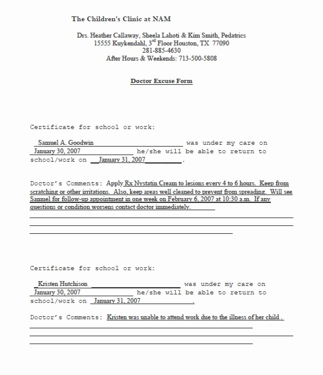 Kaiser Permanente Doctors Note Template Awesome 13 Doctors Note Templates Fake & Excuse Samples