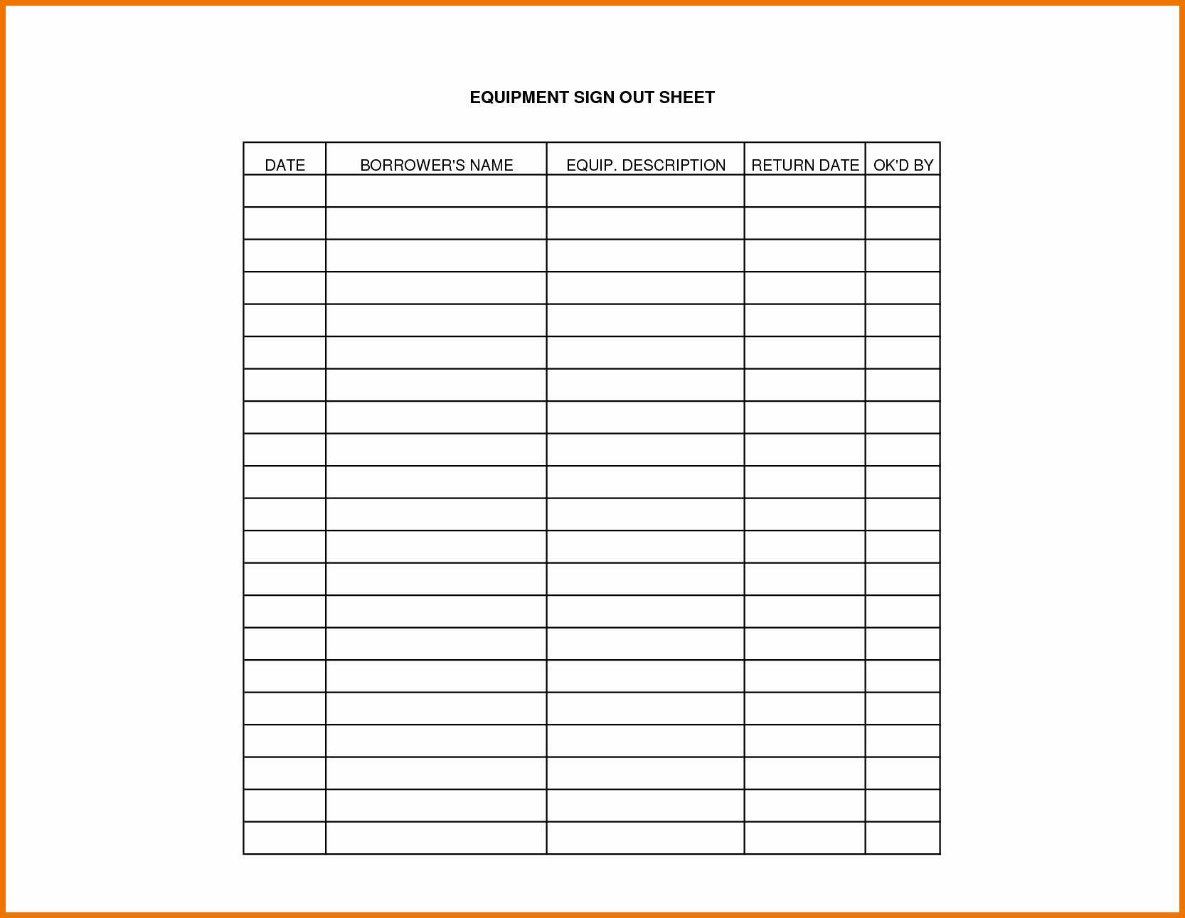 Key Sign Out Sheet Beautiful Equipment Sign Out Sheet Template