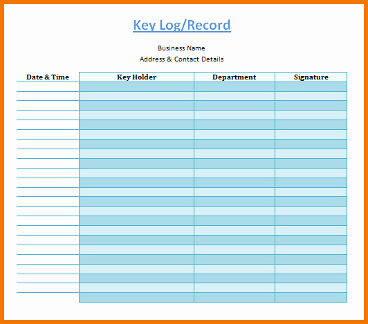 Key Sign Out Sheet Best Of 30 Of Key Log Template Excel