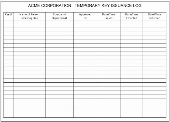 Key Sign Out Sheet Inspirational 30 Of Key Log Template Excel
