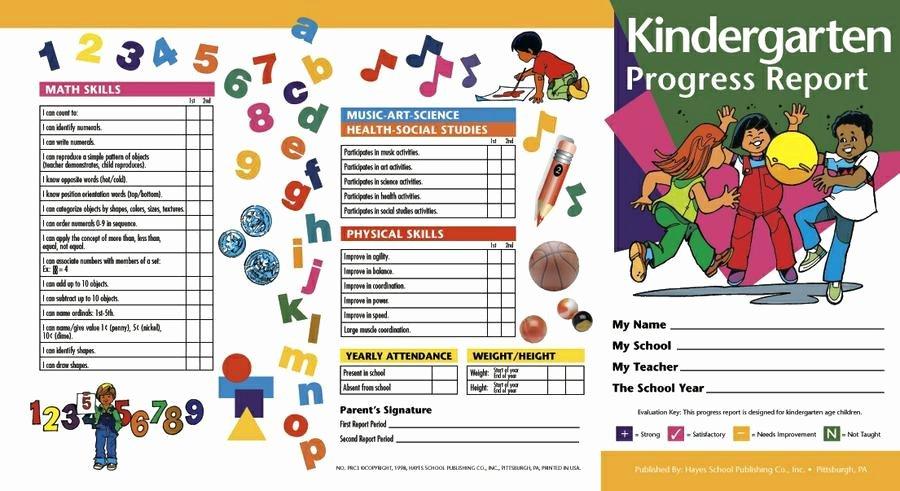 Kindergarten Progress Report Printable Awesome Hayes School Publishing Kindergarten Progress Report Card