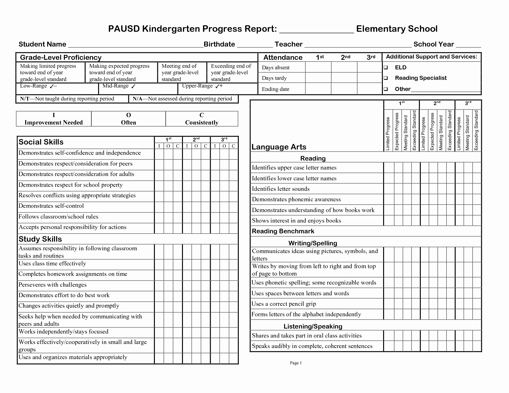 Kindergarten Progress Report Printable Best Of Printable Progress Report Template Google Search Education Pinterest