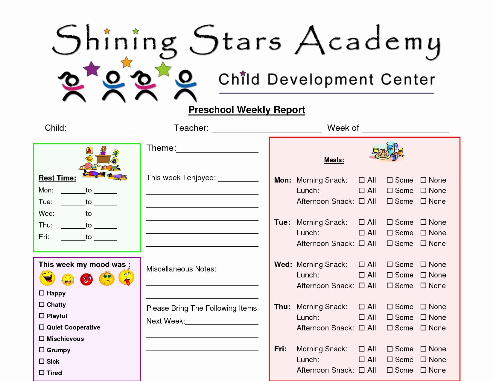 Kindergarten Progress Report Template Unique Preschool Progress Report Template Preschool
