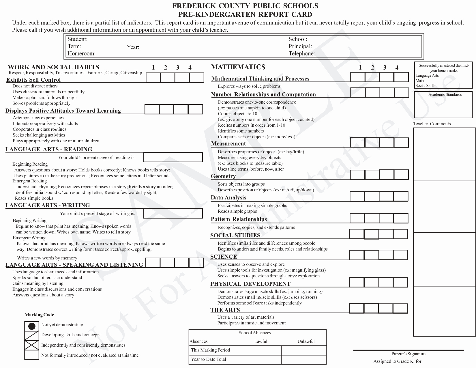 Kindergarten Report Card Template Best Of Kindergarten Report Card Template Grade Card Pinterest