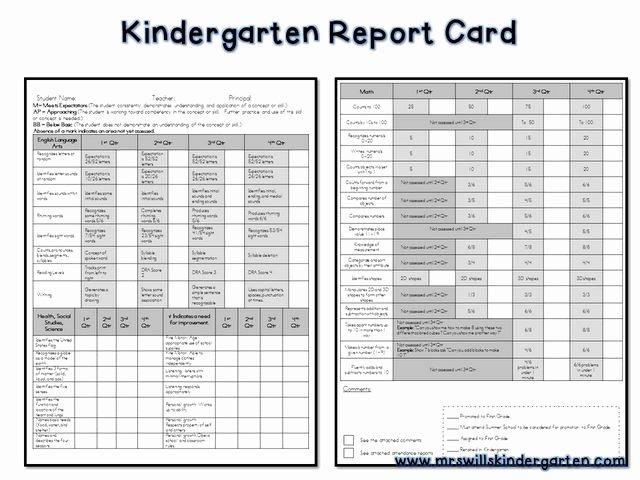 Kindergarten Report Card Template Elegant Kindergarten Report Card Free Kindergartenklub