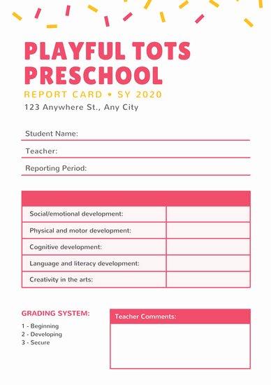 Kindergarten Report Card Template Fresh Customize 81 Preschool Report Card Templates Online Canva