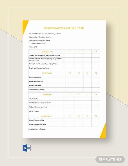 Kindergarten Report Card Template Inspirational 30 Free Report Card Templates Pdf Word Excel Psd Google Docs