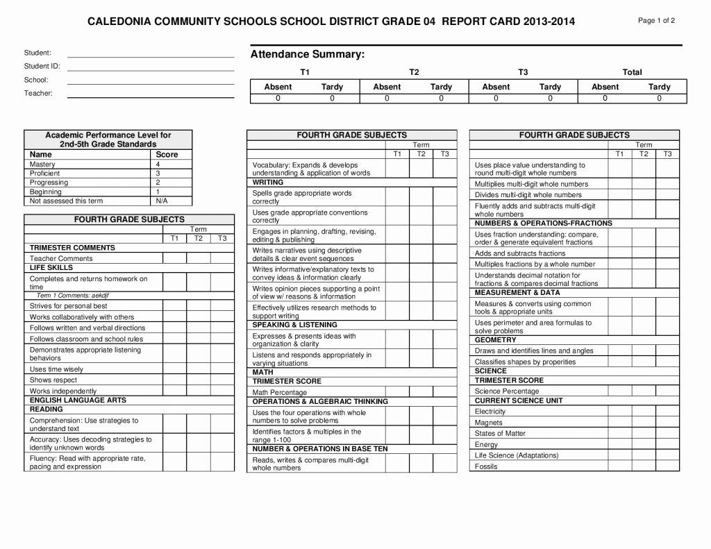 Kindergarten Report Card Template Inspirational Report Card Template 33 Free Word Excel Documents Download Freebiesland
