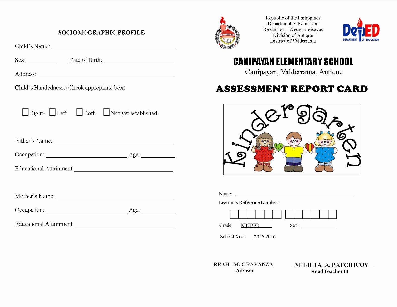 Kindergarten Report Card Template New Kinder assessment Report Card Deped Lp S