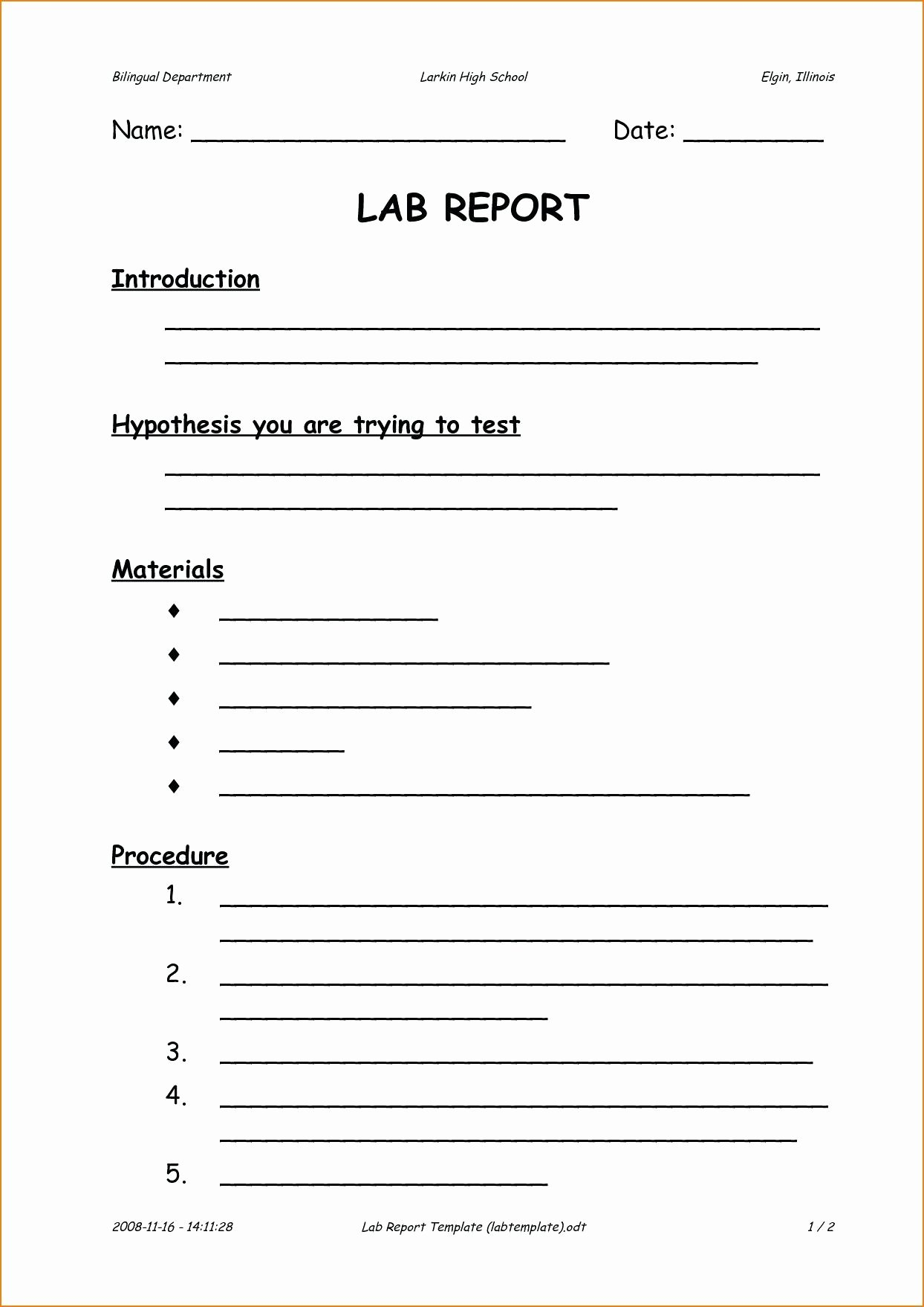 Lab Report Template Middle School Luxury Scientific Method Activity High School – Naturyub