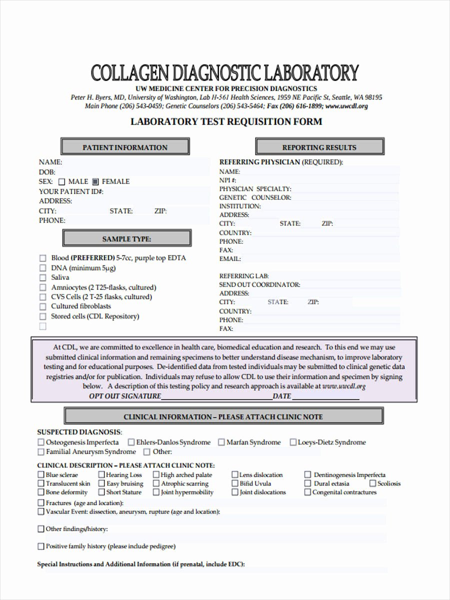 Lab Requisition form Template Inspirational Free 6 Lab Requisition form Samples In Pdf Word Doc