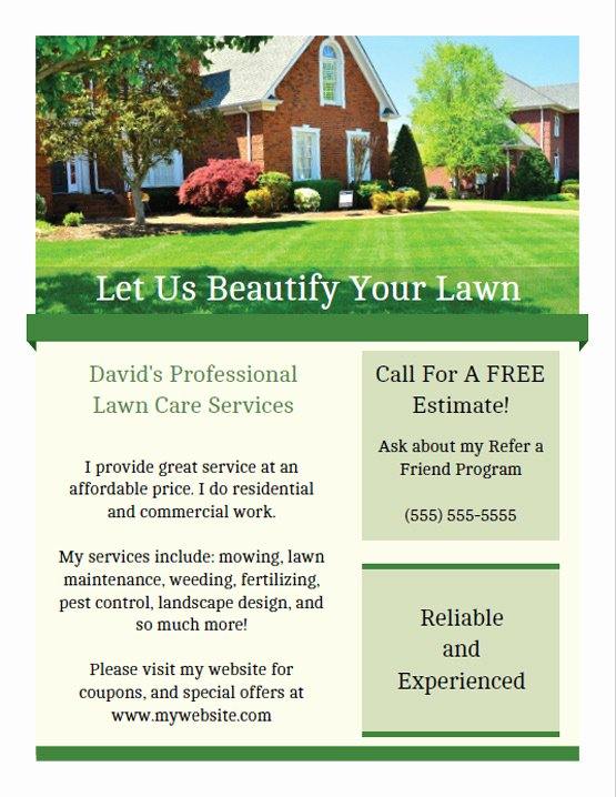 Landscape Flyer Template Free Fresh Printable Lawn Care Business Flyer Templates