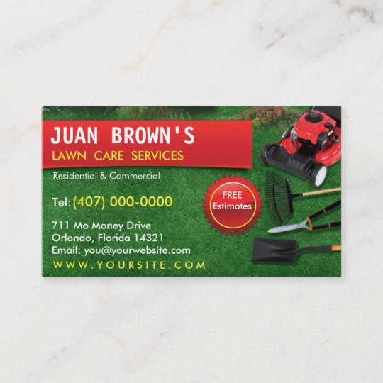 Landscaping Business Card Template Beautiful Landscaping Lawn Care Mower Business Card Template