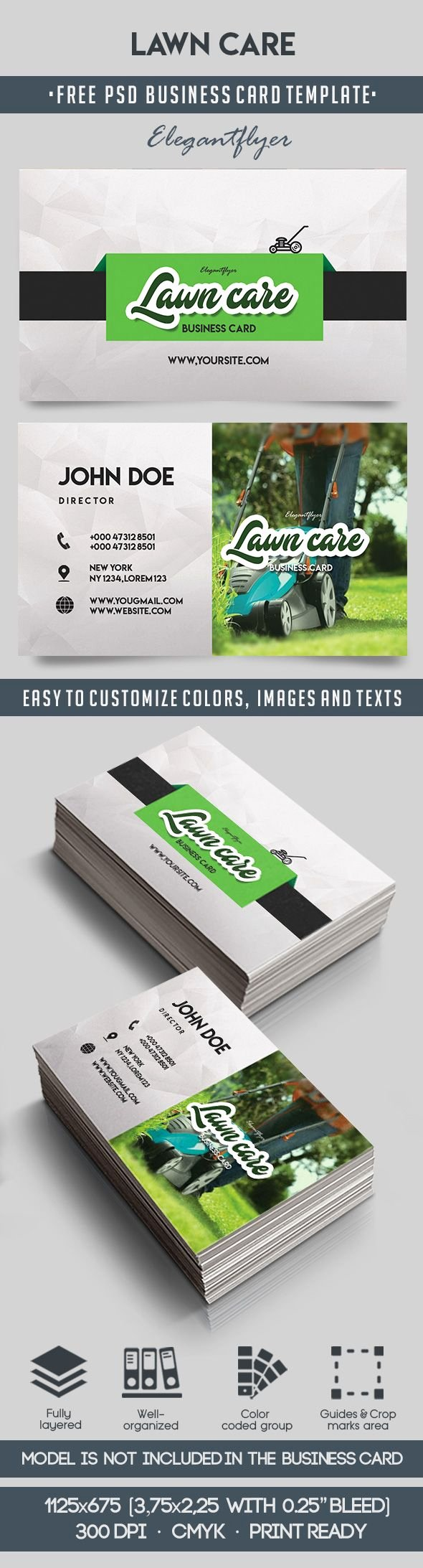Landscaping Business Card Template Fresh Lawn Care – Free Business Card Templates Psd – by Elegantflyer