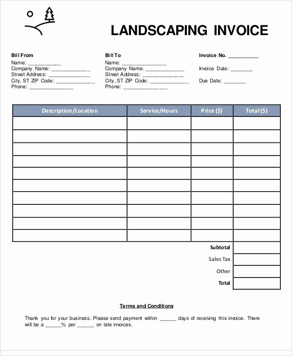 Landscaping Invoice Template Free New Sample Landscaping Invoice 6 Examples In Pdf Word Excel