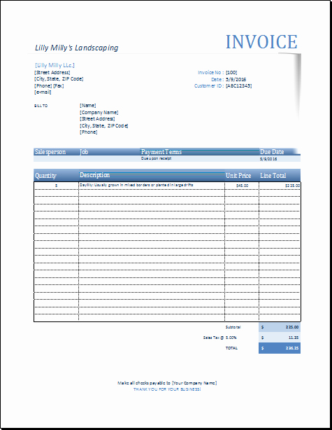 Landscaping Invoice Template Free Unique Landscape Invoice Template for Excel