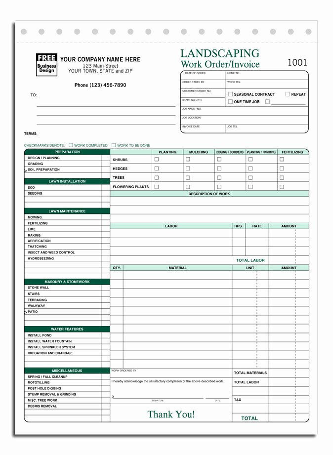 Landscaping Invoice Template Free Unique Lawn Care Invoice Template