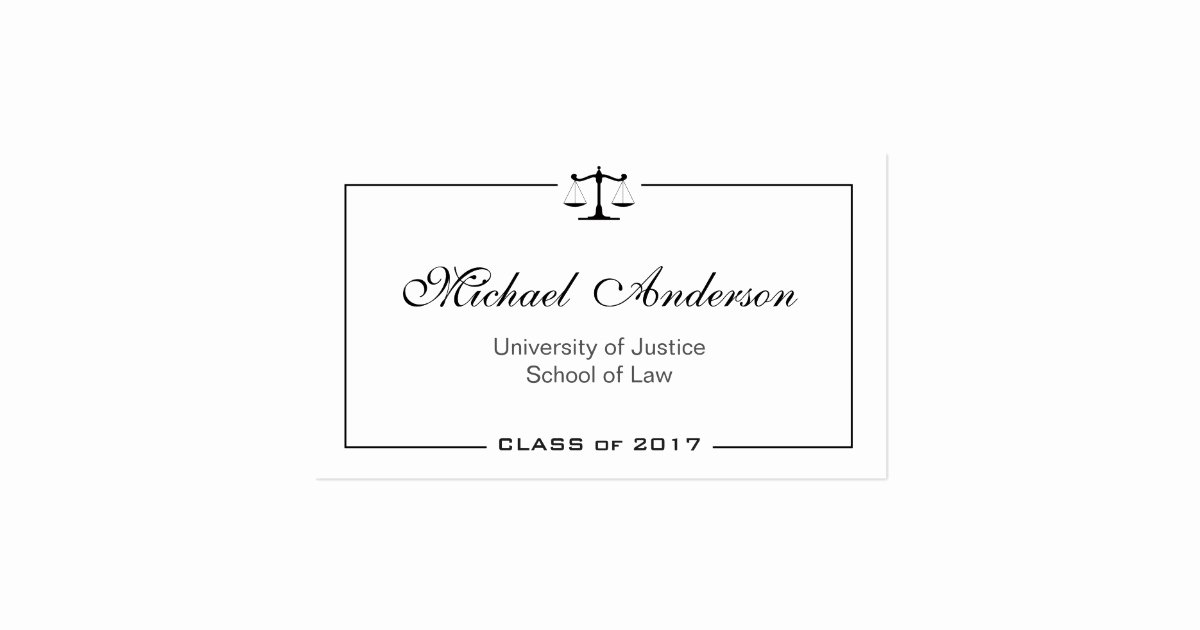 Law Student Business Cards Elegant Simple Clean Black and White Law School Student Business
