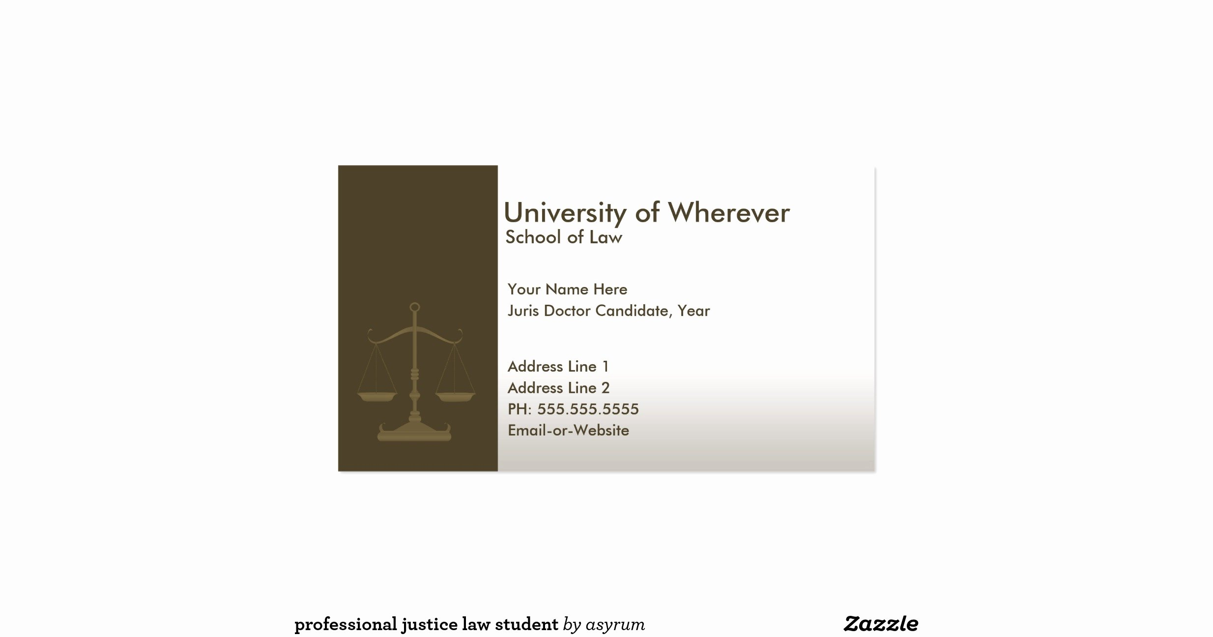 Law Student Business Cards Luxury Professional Justice Law Student Double Sided Standard