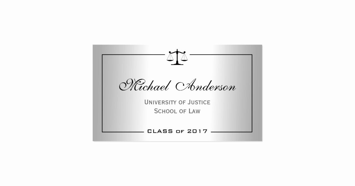 Law Student Business Cards Unique Silver Metallic Look Law School Student Business Card