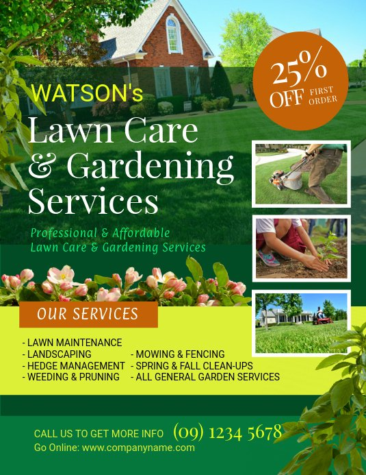 Lawn Care Advertising Flyers Awesome Lawn and Landscaping Flyer Template