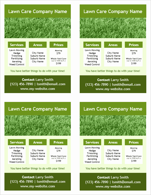 Lawn Care Advertising Flyers Beautiful Lawn Care Flyer Template for Word