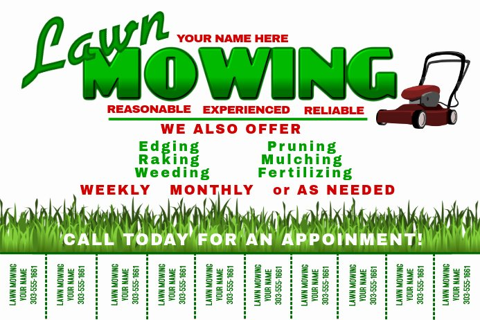 Lawn Care Advertising Flyers Fresh Lawn Mowing Template